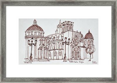 Valencia Cathedral In Plaza De La Framed Print