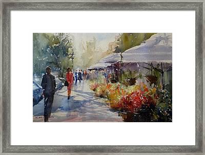 Valencia Flower Market Framed Print