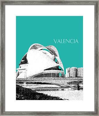 Valencia Skyline City Of Arts And Sciences - Aqua Framed Print