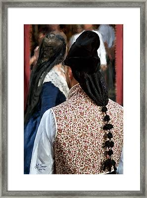 Framed Print featuring the photograph Valencian Couple In Traditional Dresses. by Juan Carlos Ferro Duque