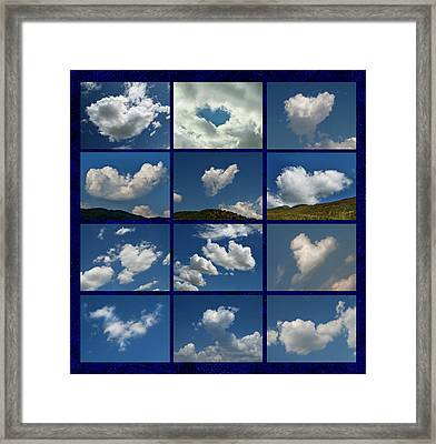 Valentine - Clouds For Sale Collage Framed Print by Daliana Pacuraru