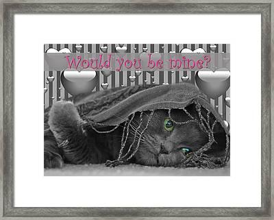 Valentine Day Cat Framed Print by Joann Vitali