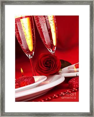 Valentine Day Dinner Framed Print by Anna Om