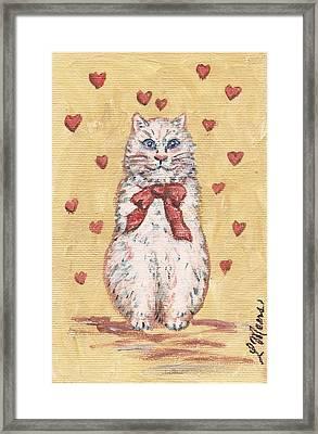 Valentine Kitty One Framed Print by Linda Mears