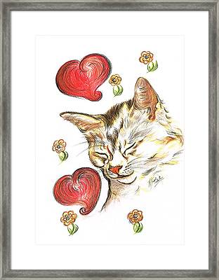Valentine Cat Framed Print