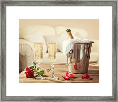 Valentines Day Champagne Framed Print