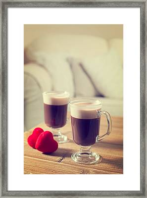 Valentines Day Coffees Framed Print by Amanda Elwell