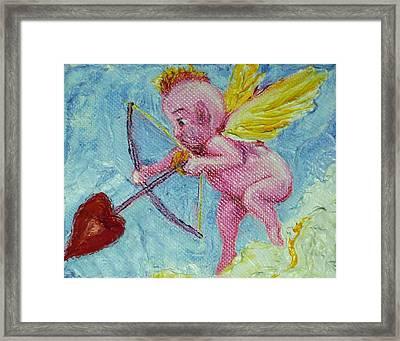 Valentine's Day Cupid And Heart Arrow Framed Print by Paris Wyatt Llanso
