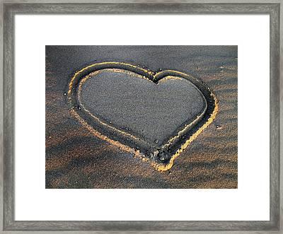 Valentine's Day - Sand Heart Framed Print
