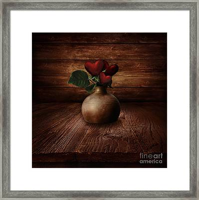 Valentines Design - Heart Flowers Framed Print by Mythja  Photography