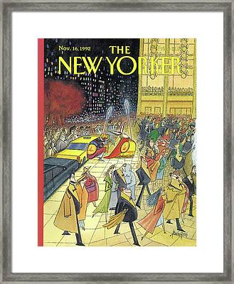 Valkyrie Gets Out Of A Taxi At The Metropolitan Framed Print by Arnold Roth