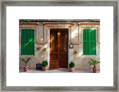 Framed Print featuring the photograph Valldemossa Facade by Brad Brizek