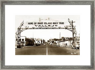 Vallejo The Navy City Home Of Mare Island Navy Yard Circa 1941 Framed Print by California Views Mr Pat Hathaway Archives