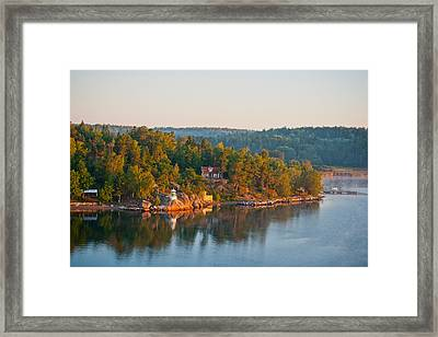 Framed Print featuring the photograph Vallersvik Lighthouse Sweden by Marianne Campolongo