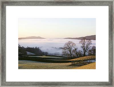 Valley Mist Over Windermere At Dawn Framed Print