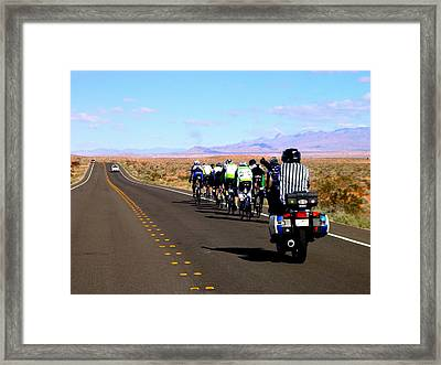 Valley Of Fire Bike Race Framed Print by Cindy Croal