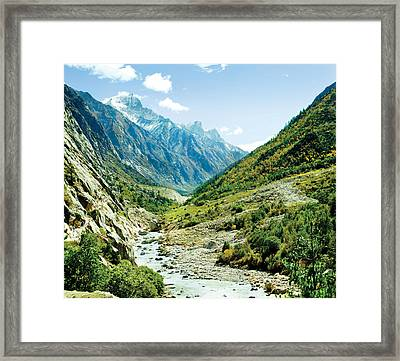 Valley Of River Ganga In Himalyas Mountain Framed Print by Raimond Klavins