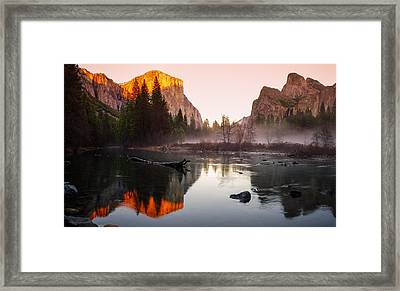 Valley View Winter Sunset Yosemite National Park Framed Print by Scott McGuire