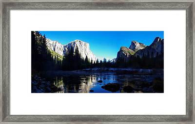Valley View Yosemite National Park Winterscape Framed Print by Scott McGuire