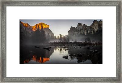Valley View Yosemite National Park Winterscape Sunset Framed Print by Scott McGuire