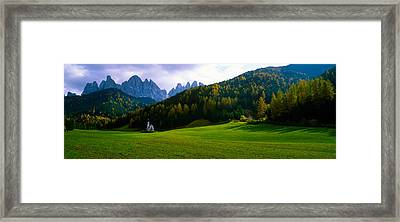 Valley With A Church And Mountains Framed Print