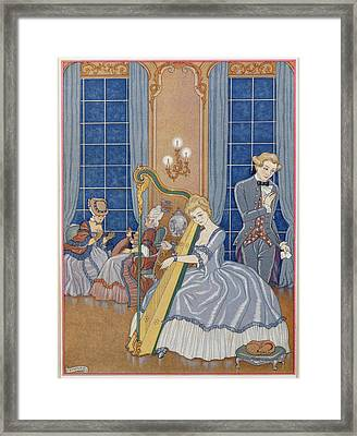 Valmont Seducing His Victim Framed Print by Georges Barbier