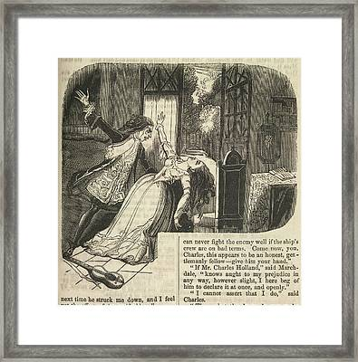 Vampire And Woman Framed Print