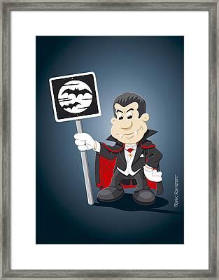 Vampire Cartoon Man Bat Moon Sign Framed Print by Frank Ramspott