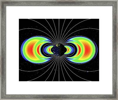 Van Allen Radiation Belts Around Earth Framed Print by Nasa's Goddard Space Flight Center/john's Hopkins University, Applied Physics Laboratory