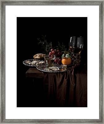 Van Beijeren -still Life With Roemer-silverware And Oysters Framed Print by Levin Rodriguez
