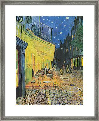Van Gogh Cafe Terrace At Night 1888 Framed Print by Movie Poster Prints