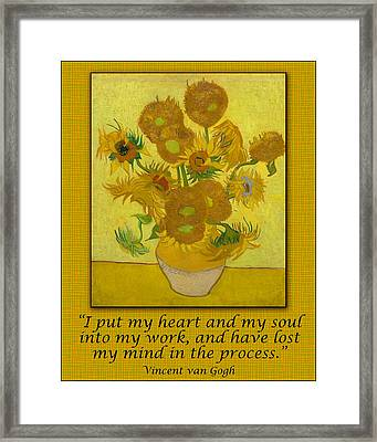 Van Gogh Motivational Quotes - Sunflowers II Framed Print