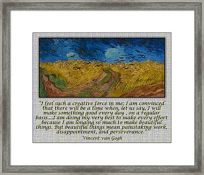 Van Gogh Motivational Quotes - Wheatfield With Crows II Framed Print