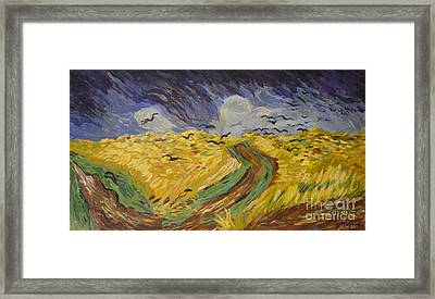 Van Gogh Wheat Field With Crows Copy Framed Print