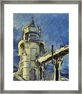 The Frozen Lighthouse Lake Michigan Framed Print by Dan Sproul