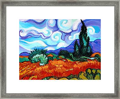 Van Goghs Wheat Field With Cypress Framed Print