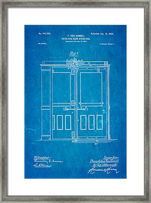 Van Kannel Revolving Door Patent Art 1900 Blueprint Framed Print by Ian Monk