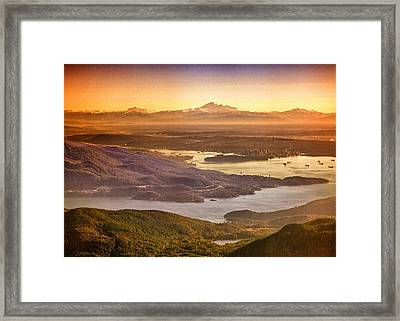 Vancouver And Mt Baker Aerial View Framed Print by Eti Reid