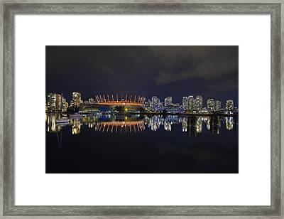 Vancouver Bc Canada City Skyline By False Creek At Night Framed Print by David Gn