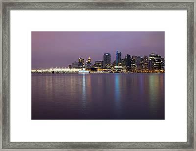 Vancouver Bc City Skyline At Dawn Framed Print