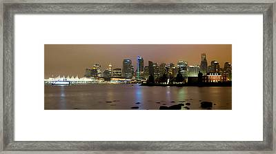 Vancouver Bc City Skyline At Night Framed Print by David Gn