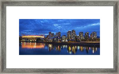 Vancouver Bc City Skyline With Bc Place At Blue Hour Framed Print by David Gn