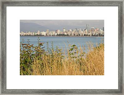 Framed Print featuring the photograph Vancouver Bc Downtown From Hasting Mills Park by JPLDesigns