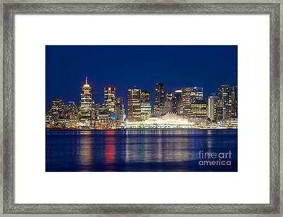 Vancouver Bc Evening Skyline Framed Print by Terry Elniski