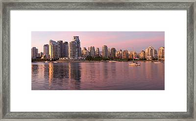 Framed Print featuring the photograph Vancouver Bc Skyline Along False Creek At Dusk by JPLDesigns