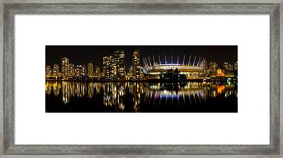 Framed Print featuring the photograph Vancouver Bc Skyline Along False Creek At Night by JPLDesigns