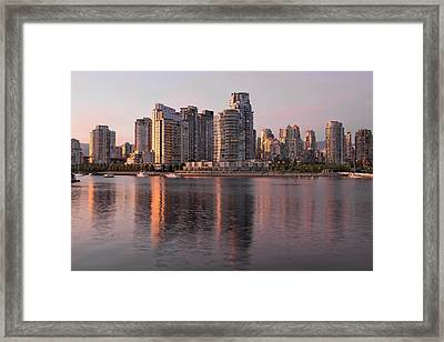 Framed Print featuring the photograph Vancouver Bc Waterfront Condominiums by JPLDesigns