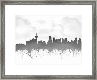 Vancouver British Columbia Skyline - Gray 03 Framed Print