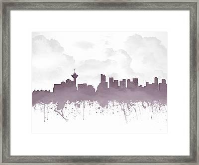 Vancouver British Columbia Skyline - Purple 03 Framed Print