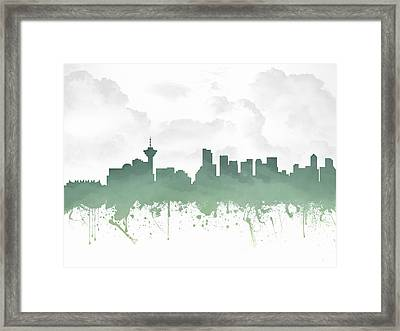 Vancouver British Columbia Skyline - Teal 03 Framed Print
